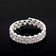 damer rhinestone Strand / tennis armband vit pärla