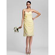 Knee-length Chiffon Bridesmaid Dress - Daffodil Plus Sizes Sheath/Column Sweetheart/Strapless