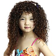 Parrucche senza cappuccio lunga sintetica Brown bambini ricci di alta qualità di