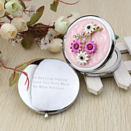 Personalized Fuchsia And Wihte  Flower Chrome Compact Mirror Favor