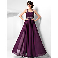 TS Couture Formal Evening / Prom / Military Ball Dress - Grape Plus Sizes / Petite Sheath/Column Halter / Sweetheart Floor-length Chiffon