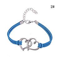 Women's Round Bangles Bracelet Alloy/Leather