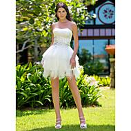 Lanting Bride Ball Gown Petite / Plus Sizes Wedding Dress-Short/Mini Strapless Satin / Tulle