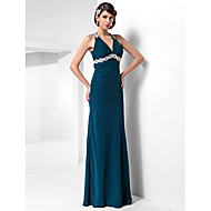 Formal Evening / Military Ball Dress - Ink Blue Plus Sizes / Petite Sheath/Column Halter Floor-length Chiffon