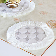 Lot de 6 Modern Style Blanc Cercle Motif Poly / Cotton Coasters