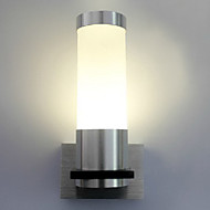 1W moderna LED Wall Light med Cylinder Brushed Aluminium Body
