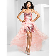 Homecoming Prom/Formal Evening Dress - Pearl Pink Plus Sizes A-line Strapless Asymmetrical Organza/Sequined