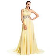 Prom / Formal Evening / Military Ball Dress - Plus Size / Petite Sheath/Column One Shoulder Court Train Chiffon