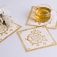 Square Gold Blocking PVC Coaster Favors (Set of 6 Pieces)