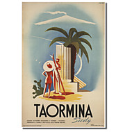 Printed Canvas Art Vintage Taormina, Sicily by Vintage Apple Collection with Stretched Frame