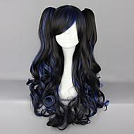 검은 색과 파란색 혼합 곱슬 머리 땋은 70cm 고딕 양식의 긴 가발