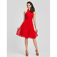 Homecoming Cocktail Party Dress - Ruby Plus Sizes Sheath/Column High Neck Knee-length Chiffon