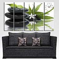 Modern Style Green Leaf Wall Clock in Canvas 5pcs