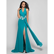 TS Couture® Formal Evening / Prom / Military Ball Dress - Jade Plus Sizes / Petite Sheath/Column Halter Sweep/Brush Train Chiffon