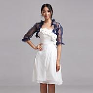 Wedding  Wraps Coats/Jackets Half-Sleeve Organza Royal Blue Wedding / Party/Evening / Casual T-shirt Open Front