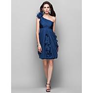hemkomst cocktailparty klänning - bläck blå plus storlekar mantel / kolumn ena axeln knälång chiffong