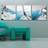 Stretched Canvas Art Landscape Sailing Boats Set of 3