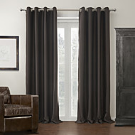 Two Panels  Solid Polyester Silken Blackout Curtain