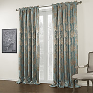 (Two Panels) Jacquard Blue Floral Blackout Curtain