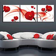 3 켄버스 예술 꽃 로맨스 붉은 꽃잎 세트