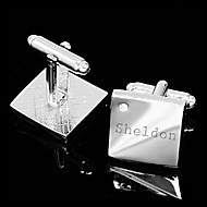 Gift Groomsman Personalized Silver Simple Cufflinks