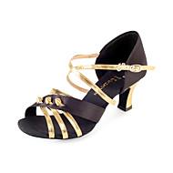 Non Customizable Women's Dance Shoes Latin/Ballroom Satin Flared Heel Multi-color