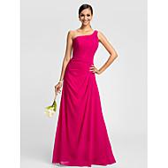 Lanting Dress - Fuchsia Plus Sizes / Petite A-line One Shoulder Floor-length Chiffon