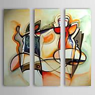 Pintado a mano la pintura al óleo abstracta marco estirado Juego de 3 1308-AB0552