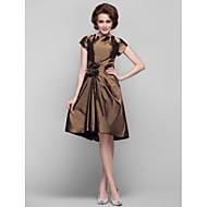 Dress - Brown Sheath/Column Jewel Knee-length Taffeta