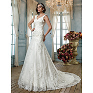 LAN TING BRIDE Trumpet / Mermaid Wedding Dress - Classic & Timeless Elegant & Luxurious Vintage Inspired Open Back Court Train Queen Anne