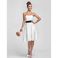 Lanting Knee-length Satin Bridesmaid Dress - Ivory Plus Sizes / Petite Sheath/Column Strapless