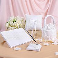 Våren floral utformet bryllup samling satt i hvit sateng og blonder (4 stk)
