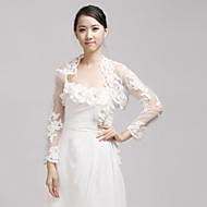 결혼식 랩 볼레로 반 소매 레이스 아이보리 웨딩 / 파티/이브닝 오픈 프론트