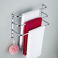 Contemporary Chrome Finish Three Bars Towel Rack With Hooks, without Screw