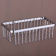 Conciso Diseño cromado Latón Rectangle Baño Estante