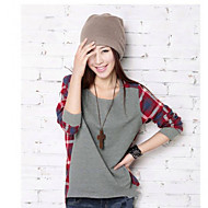 Women's Check Pattern Splicing T-shirts