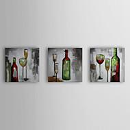 Håndmalede oliemaleri Still Life Rødvin med strakte ramme sæt af 3 1309-SL0920