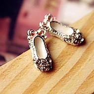 Hot bud creative cute bow shoes little shoes Round Diamond Stud Earrings models E105