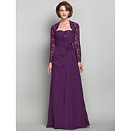 Lanting Sheath/Column Plus Sizes / Petite Mother of the Bride Dress - Grape Floor-length Long Sleeve Chiffon / Lace