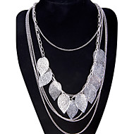 Women's Pendant Necklaces Statement Necklaces Leaf Alloy Tassel Fashion Bohemian Multi Layer Long Silver Jewelry ForParty Special