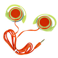 Trendy Ear Hook Stereo Earphones-Green + Orange (3.5mm-Plug/120cm-Cable)