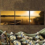 Stretched Canvas Art Landscape Boat at Dusk Set of 3