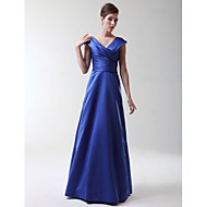 Lanting Floor-length Stretch Satin Bridesmaid Dress - Royal Blue Plus Sizes / Petite A-line / Princess V-neck