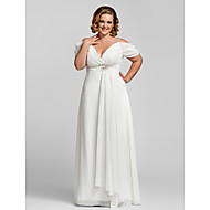 Homecoming Formal Evening/Prom/Military Ball Dress - Ivory Plus Sizes Sheath/Column Spaghetti Straps Floor-length Chiffon