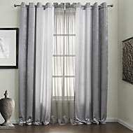 TWOPAGES® Two Panels Solid Silver Energy Saving Curtains Drapes with Sheer Set
