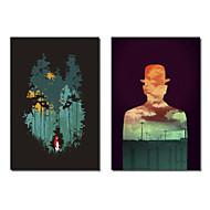 Taulupohjat taide Abstrakti Wolf ja Lonely Henkilö Budi Satria Kwan Set 2