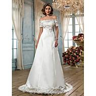 Lanting Bride A-line Petite / Plus Sizes Wedding Dress-Sweep/Brush Train Off-the-shoulder Satin