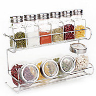 2 Tier Glaswerk Cruet Set Rack (6 stuks 90ML Transparant Salt Shakers, 4 stuks 200ML Ronde Jar, 1pc Rack)