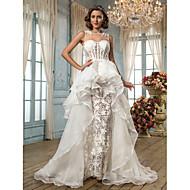 A-line/Princess Wedding Dress - Ivory Asymmetrical Jewel Tulle/Lace/Organza