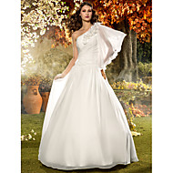 Lanting Bride A-line Petite / Plus Sizes Wedding Dress-Floor-length One Shoulder Chiffon